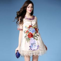Elabo - Elbow-Sleeve Embroidered Frilled Trim Dress