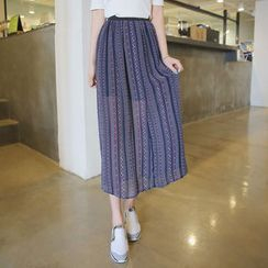 Envy Look - Band-Waist Chiffon Maxi Skirt