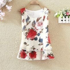 Clementine - Floral Print Sleeveless Chiffon Top