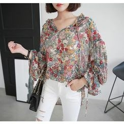 Miamasvin - Tie-Front Flower Pattern Chiffon Top
