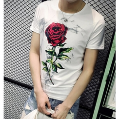 Fisen - Rose Print Short-Sleeve T-Shirt