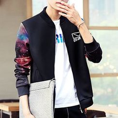 Really Point - Galaxy Printed Panel Baseball Jacket