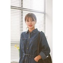 CHERRYKOKO - Gathered-Waist Denim Shirtdress with Sash