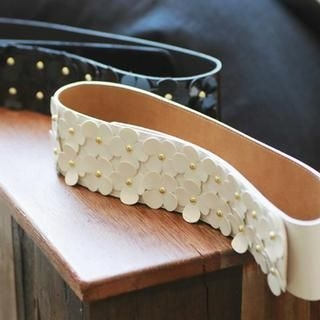 vivaruby - Floral Appliqué Wide Belt