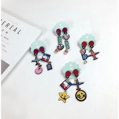 Dollu - Plane / Lettering Non Matching Drop Earrings