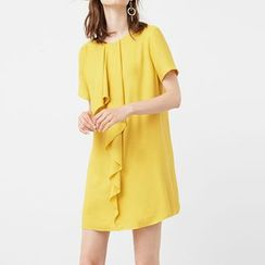 Obel - Ruffle Trim Short Sleeve Chiffon Dress