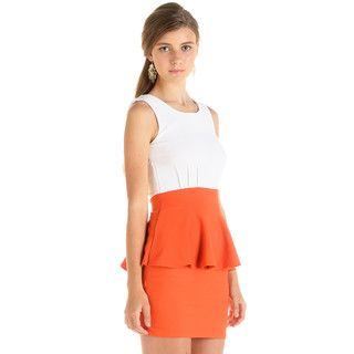 YesStyle Dress - Two-Tone Peplum Dress