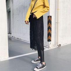 RASA - Lace Inset Faux Leather Leggings