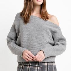 Obel - Off Shoulder Plain Sweater