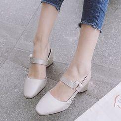 Gizmal Boots - Faux Leather Block Heel Pumps