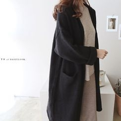 DAILY LOOK - Open-Front Pocket-Detail Long Cardigan