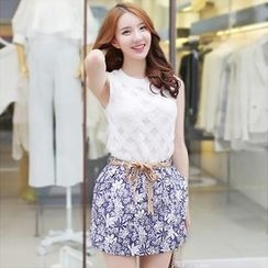 BRONCY - Set: Sleeveless Lace Top + Floral Print Skirt with Belt