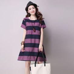 Diosa - Striped Short Sleeve Dress