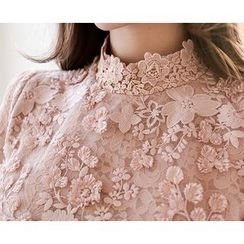 Marlangrouge - Stand-Collar Lace Blouse