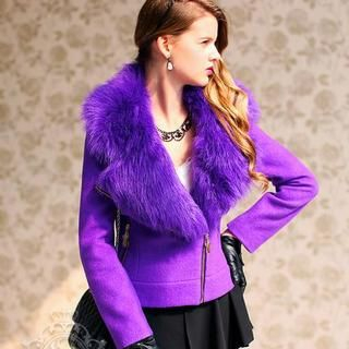 Dabuwawa - Wool-Blend Faux-Fur Collar Diagonal Zip Jacket