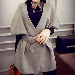 Eva Fashion - Collarless Tie-Sash Jacket