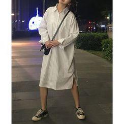 Chililala - Long-Sleeve Striped Shirt Dress