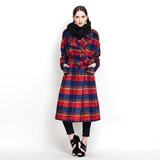 YiGelila - Tie-Waist Plaid Tweed Long Coat