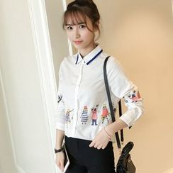 Colorful Shop - Long-Sleeve Printed Blouse