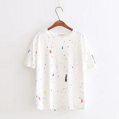 Vateddy - Paint Splattered Print Short Sleeve T-Shirt