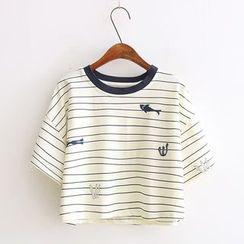 Vateddy - Striped Short Sleeve Cropped T-Shirt