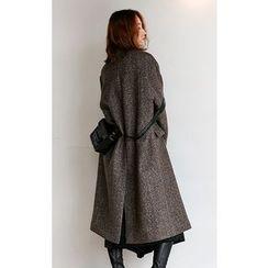 Someday, if - Collarless Herringbone Wool Blend Coat