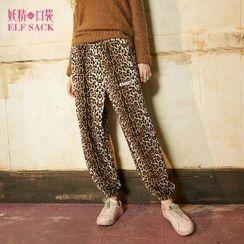 ELF SACK - Gather Cuff Leopard Harem Pants