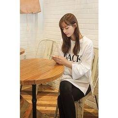 CHERRYKOKO - Drop-Shoulder Lettering T-Shirt