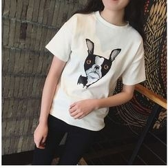 MayFair - Dog Print Short Sleeve T-Shirt