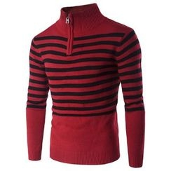 Blueforce - Striped Half-Zip High-Neck Sweater