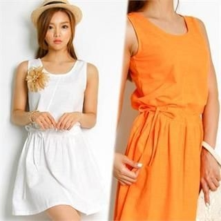FASHION DIVA - Sleeveless Drawstring-Waist Dress