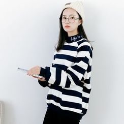 Forest Girl - Lettering Mock Neck Striped Sweatshirt