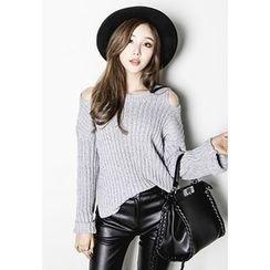 INSTYLEFIT - Cutout-Shoulder Rib-Knit Sweater