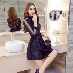 Sienne - Perforated Long Sleeve Velvet Dress