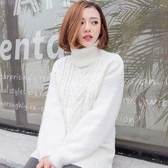 Emeline - 高领麻花针织毛衣