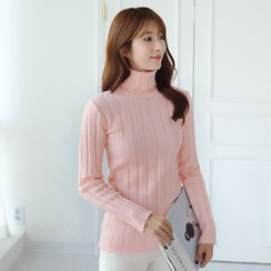 CLICK - Turtle-Neck Ribbed Knit Top