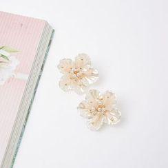 Cherryville - Faux-Pearl Floral Stud Earrings