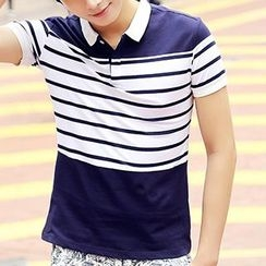 HANDA - Stripe Colour Block Short-Sleeve Polo Shirt
