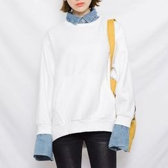 Heynew - Mock Two-piece Collared Sweatshirt
