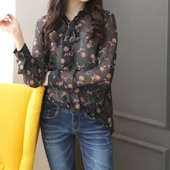 DANI LOVE - Tie-Neck Floral Print Sheer Blouse