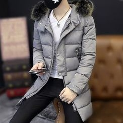 DTT - Furry Trim Hooded Padded Coat
