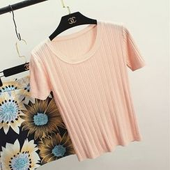 Honey House - Short Sleeve Ribbed Knit Top