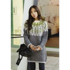 REDOPIN - Diamond Pattern Color-Block Sweater