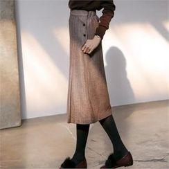 MAGJAY - Banded-Waist Herringbone Midi Skirt