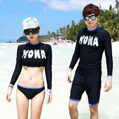 Roseate - Couple Matching Letter Rashguard / Shorts