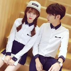 Tabula Rasa - Couple Matching Panel Long-Sleeve Shirt