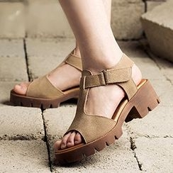MIAOLV - T字帶厚底涼鞋