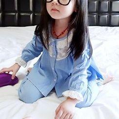 CUBS - 兒童家居服套裝: 通花蕾絲邊上衣 + 褲子