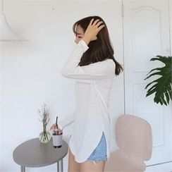 QNIGIRLS - Long-Sleeve Round-Hem T-Shirt