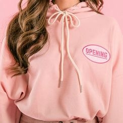 chuu - Lettering Brushed-Fleece Lined Hoodie